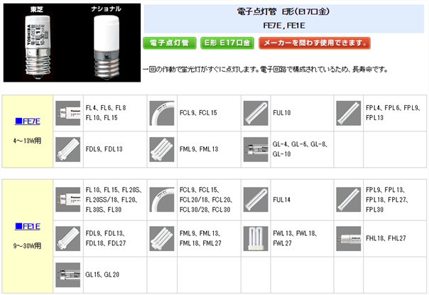 電子点灯管の一覧2